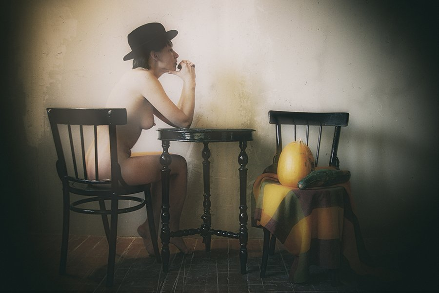 © Normante Ribokaite, Woman with Pumpkins
