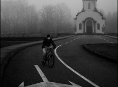 Biker in the fog